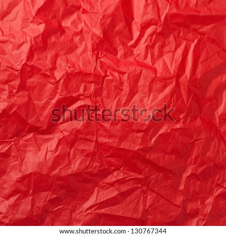 Red crumpled paper for background - stock photo