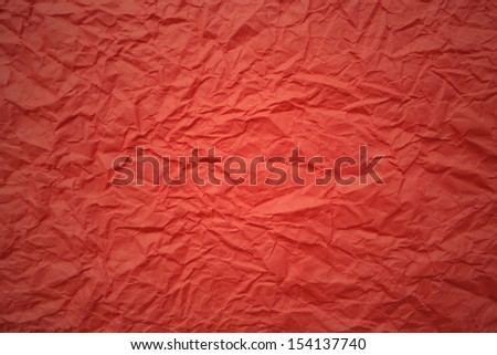 Red crumpled paper, texture and background