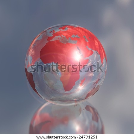 red crystal africa globe 3d