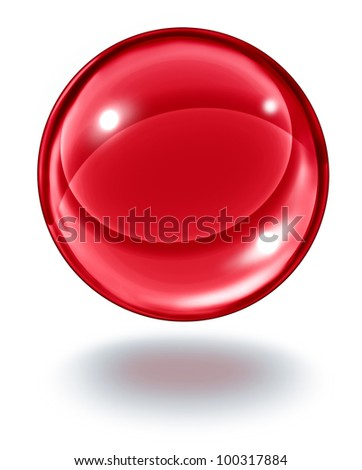 Red crystal ball floating in the air as a transparent ruby glass gem sphere on white with a shadow as a symbol of wealth and geometric elegance in design.