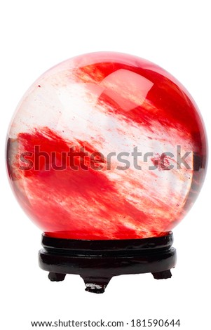 Red crystal ball on the stand isolated on white background - stock photo