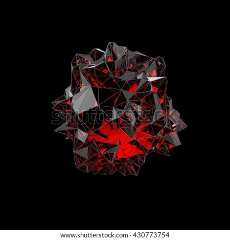 red crystal, 3d illustration - stock photo