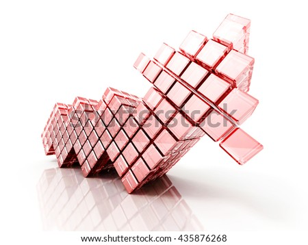 red cube arrow going up on white background. 3d render illustration of success - stock photo