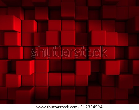 Red Cube Blocks Abstract Design Background. 3d Render Illustration - stock photo
