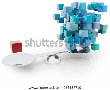 red cube counterbalancing a group of blue blocks - stock photo