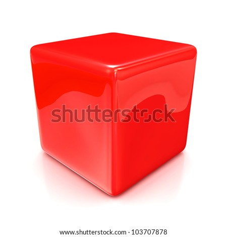Red cube isolated on white background - stock photo