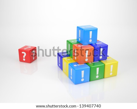 Red Cube Question Mark Front Tower Stock Illustration 139407740