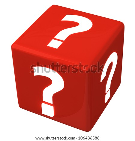 Red cube with question marks 3d - stock photo