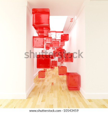 Red cubes floating in the middle of a corridor - stock photo