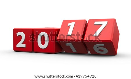 Red cubes with 2016-2017 change on a white table represents the new 2017, three-dimensional rendering, 3D illustration - stock photo