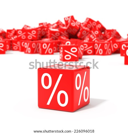 Red cubes with percent in focus isolated on white background - stock photo