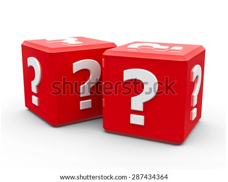 Red cubes with question mark on a white table, three-dimensional rendering - stock photo