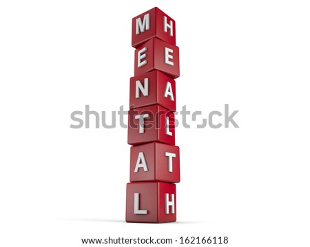 red cubes with the words Mental Health on it. - stock photo