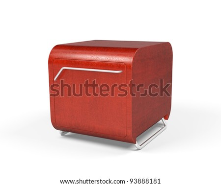 Red cubic table isolated 3d model