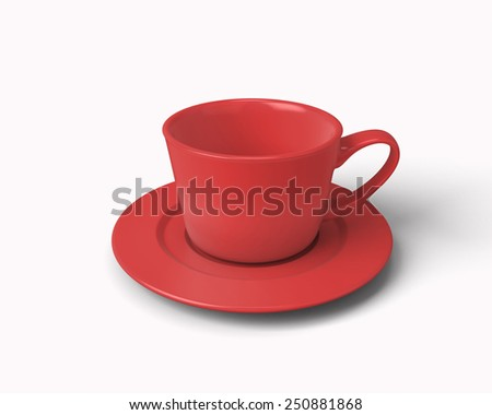 Red cup for coffee isolated on white background. 3d illustration. - stock photo