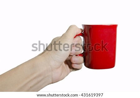 Red cup in hand isolated on white background