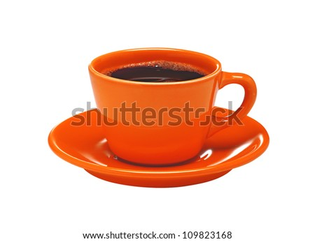 Red cup of coffee on plate isolated on white background - stock photo