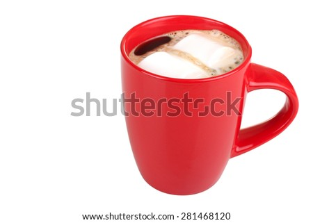 red cup of coffee with marshmallow isolated - stock photo