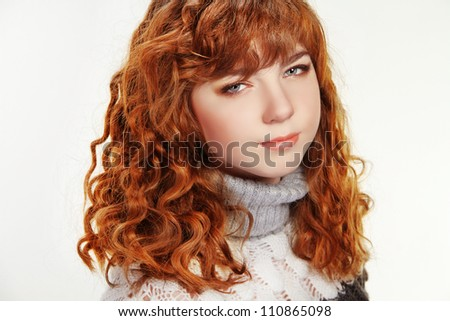 Red Curly hair of teen girl, studio portrait - stock photo