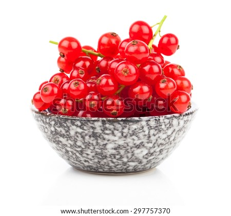 red currant in a bowl, on a white background - stock photo