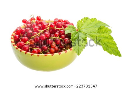 Red currant with leaf in the bowl