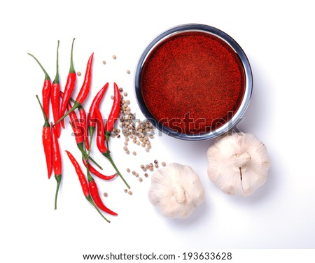 red curry powder with chili ,garlic,pepper ingredients - stock photo