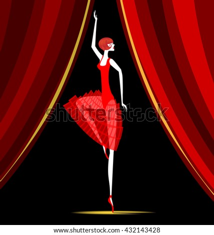 red curtain and dancing red ballet dancer