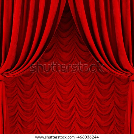 Red curtain and drapes. 3D rendering