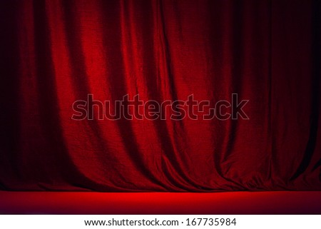 Red curtain and the scene . - stock photo