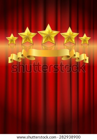 red curtain background  illustration - stock photo