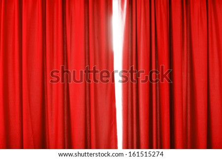 Red curtain background with folds - stock photo