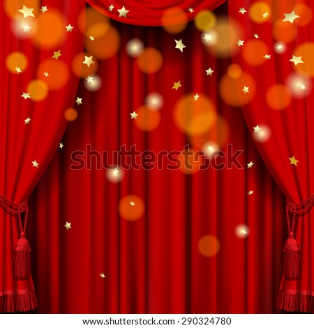 Red curtain background  with rain of stars - stock photo