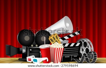 Red curtain cinema films and popcorn on the stage  - stock photo