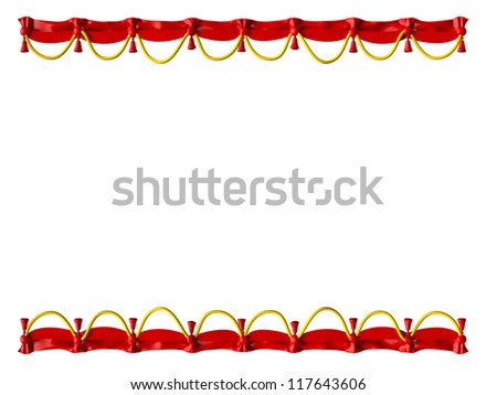 Red Curtain Frame Yellow Ropes Isolated Stock Illustration 117643606 ...