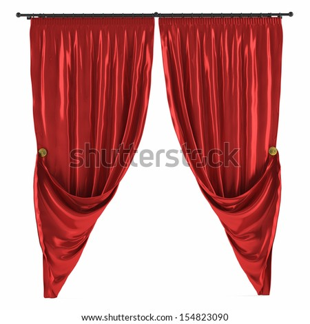 Red curtain isolated - stock photo