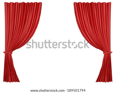 red curtain isolated at white background - stock photo