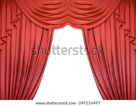 Red curtain isolated on white background.