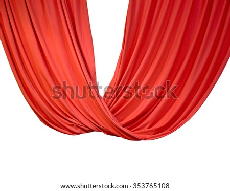 red curtain isolated on white background, theater details - stock photo