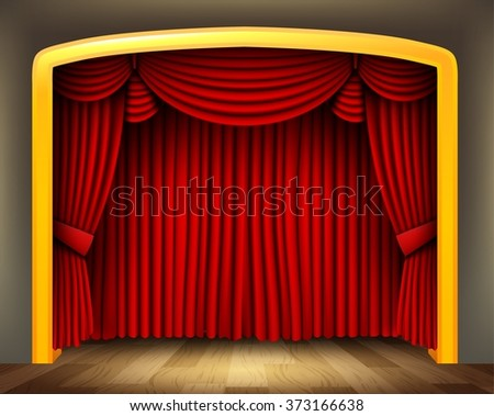 Red curtain of classical theater with wood floor - stock photo