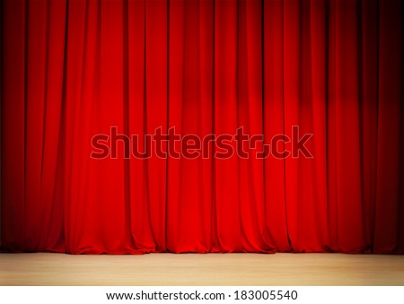 red curtain of theater stage - stock photo