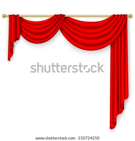 Red curtain on the white background. - stock photo