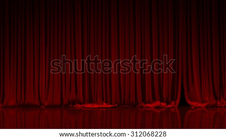 Red curtain on theater or cinema stage. - stock photo