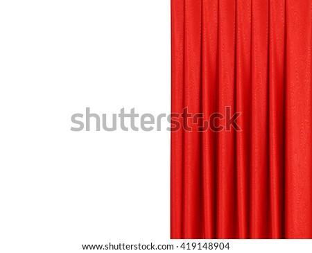 Red curtain on theater or cinema stage slightly open - stock photo