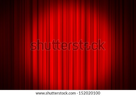 Red curtain on theater or cinema stags - stock photo