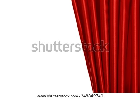 Red Curtain on white background - stock photo