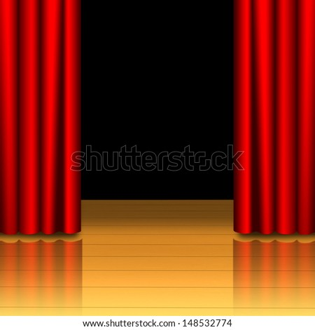 Red curtain open on wood stage with black isolated - stock photo