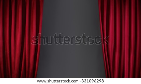 red curtain or drapes on stage background - stock photo
