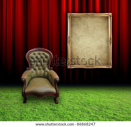 Red curtain room with vintage frame and retro leather chair