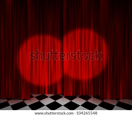 Red Curtain Spotlight Stage Background - stock photo