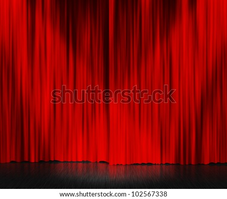 Red Curtain Stage Background - stock photo